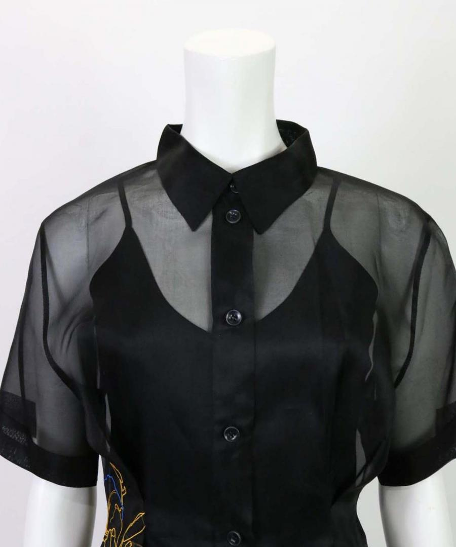 FLOWER MBROIDERED ORGANZA SHIRT
