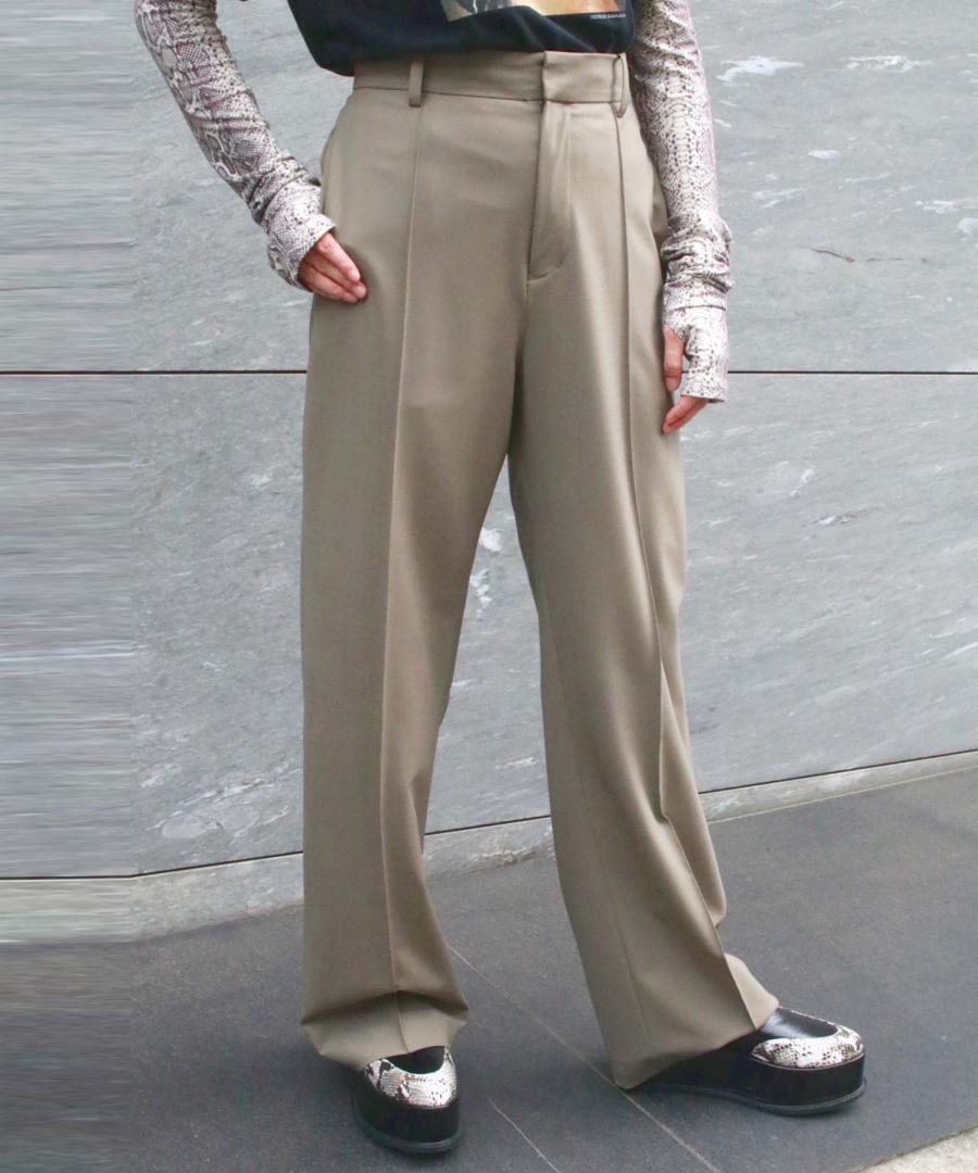 STRETCH WOOL STRAIGHT LEG TROUSERS