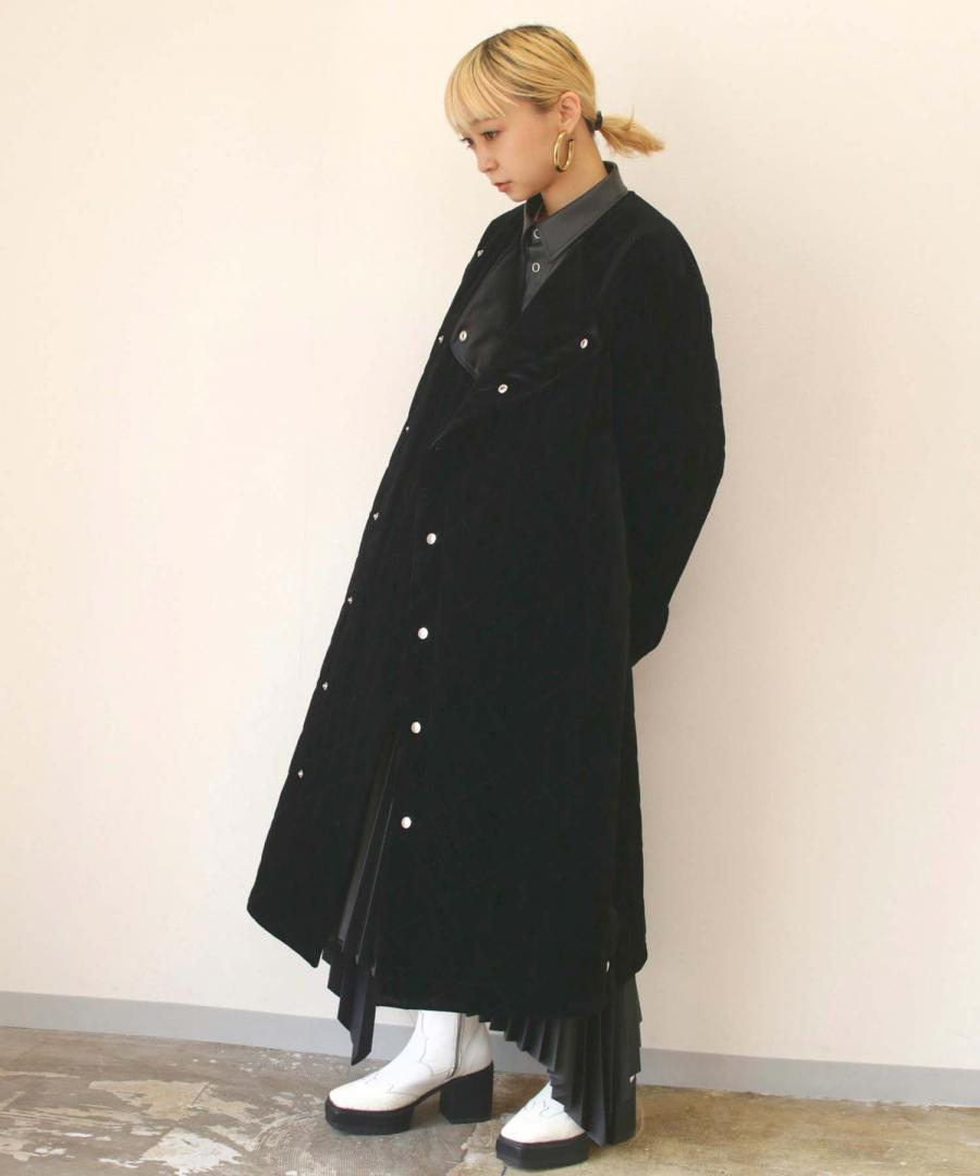 VELOUR QUILTED COAT