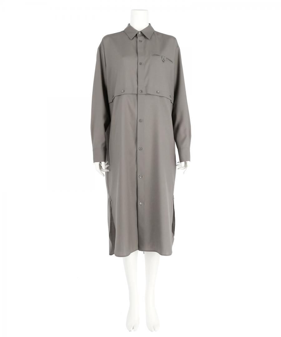 TECH WOOL CROSS OPEN SHIRT DRESS