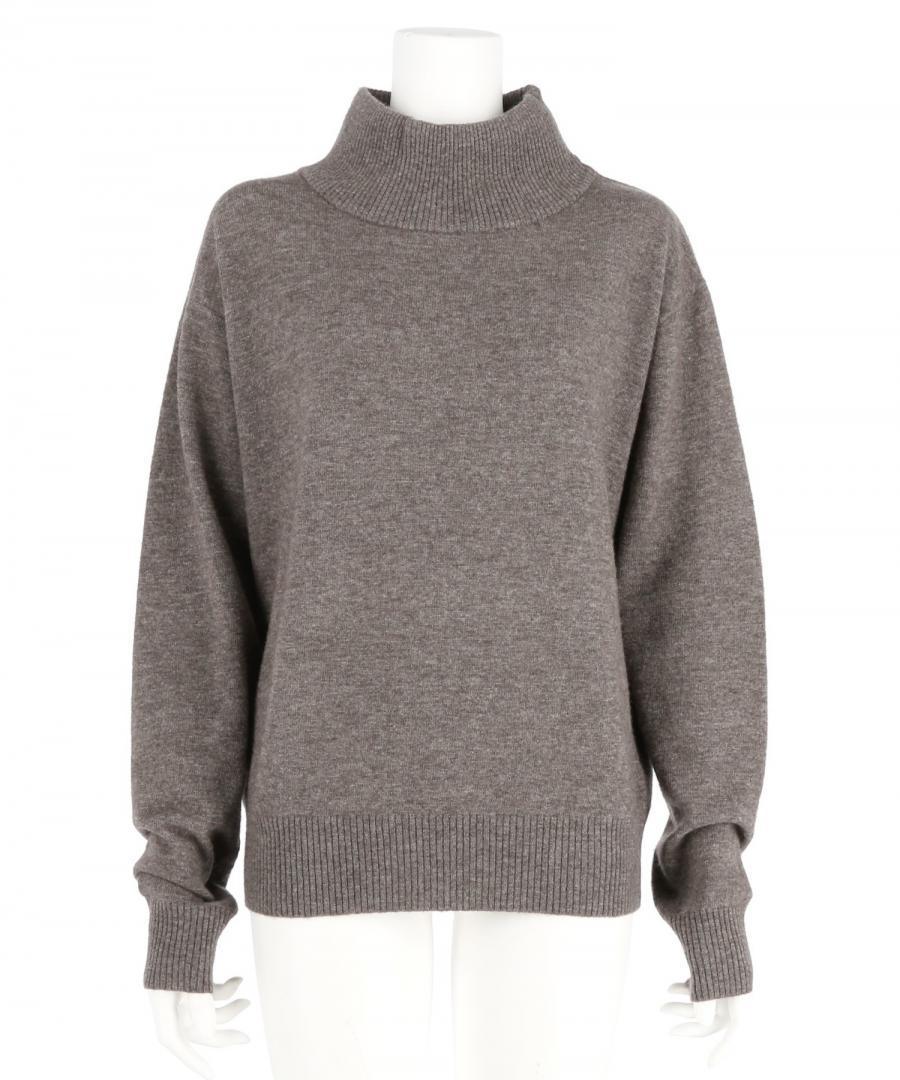 ZIPPED HIGHNECK AND NECK WARMER KNIT TOP