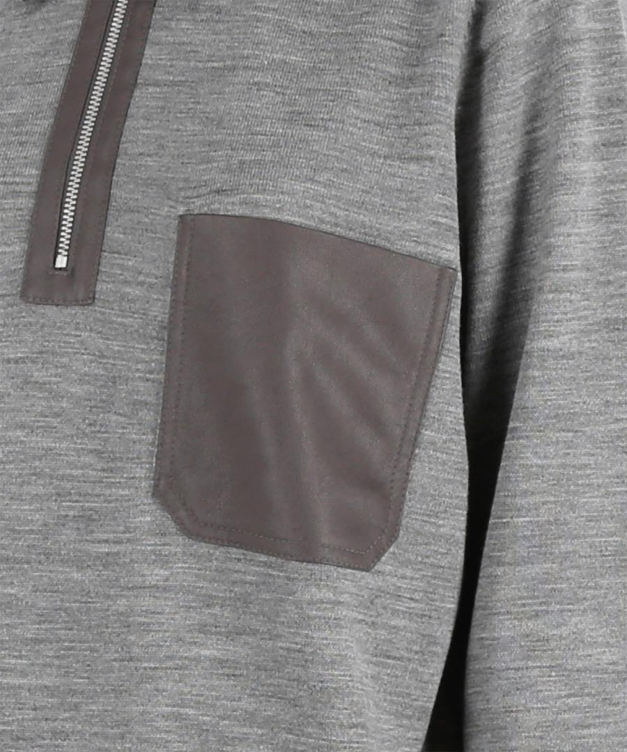 LEATHER PATCH POLO KNIT JUMPER