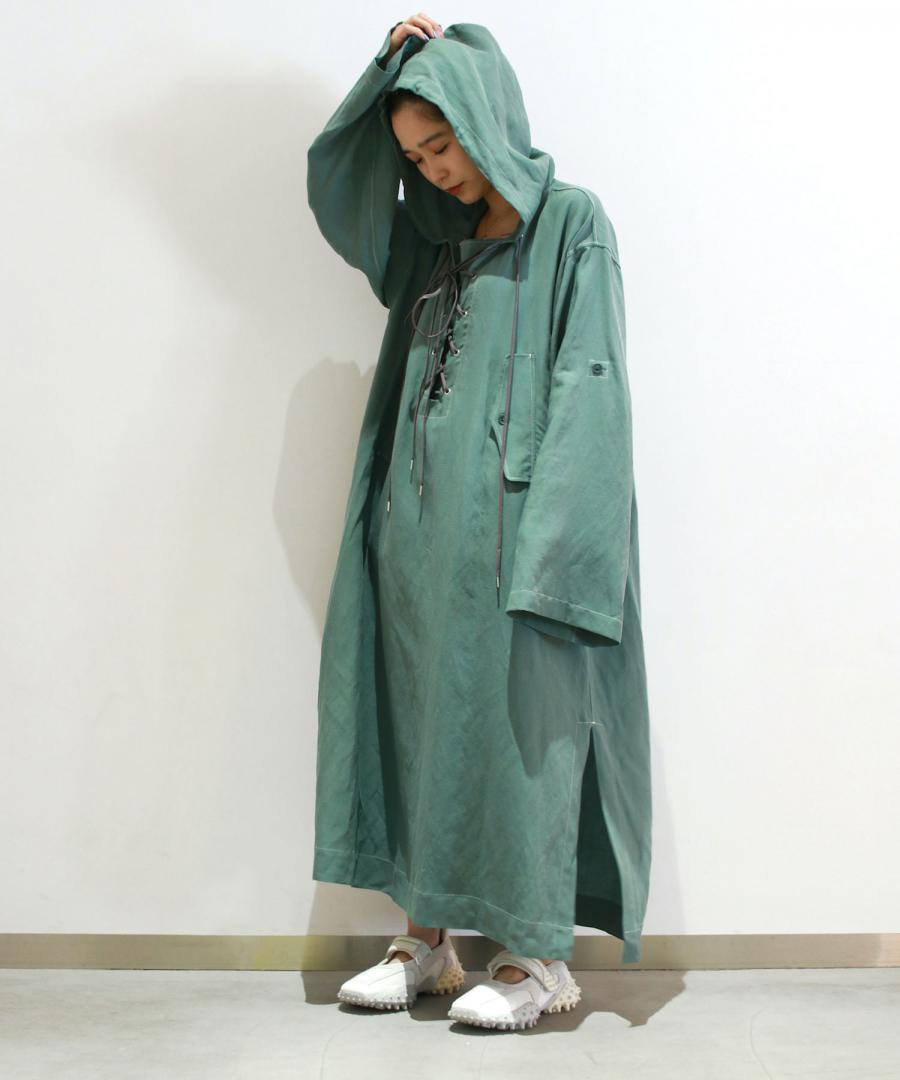 HOODED SMOCK DRESS