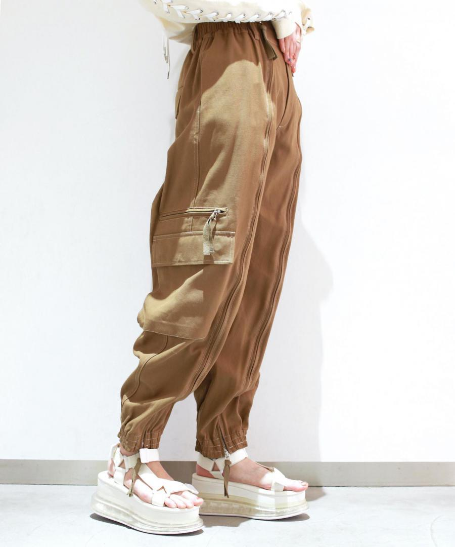 COTTON TWILL CARGO POCKET TROUSERS