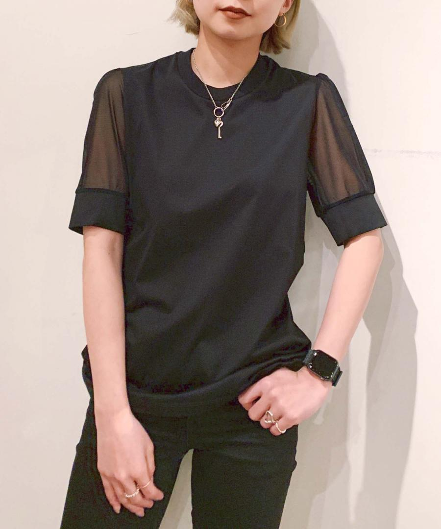 TULLE SLEEVE T-SHIRT