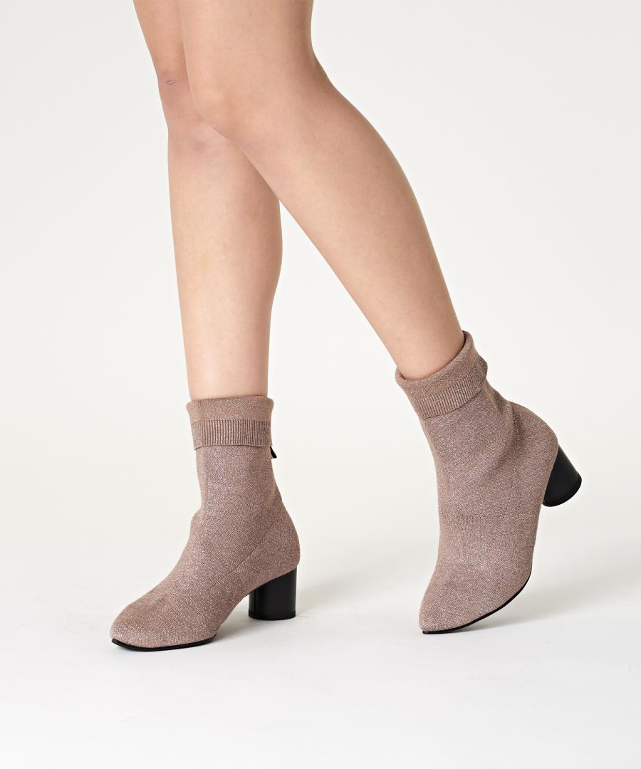 KNIT BOOTS POINT Metal Gold