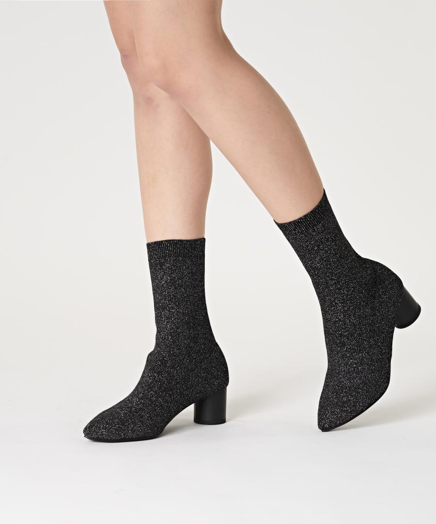 KNIT BOOTS POINT Metal Black