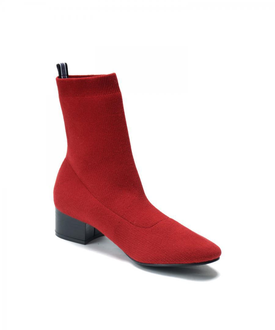 KNIT BOOTS ROUND Deep Red