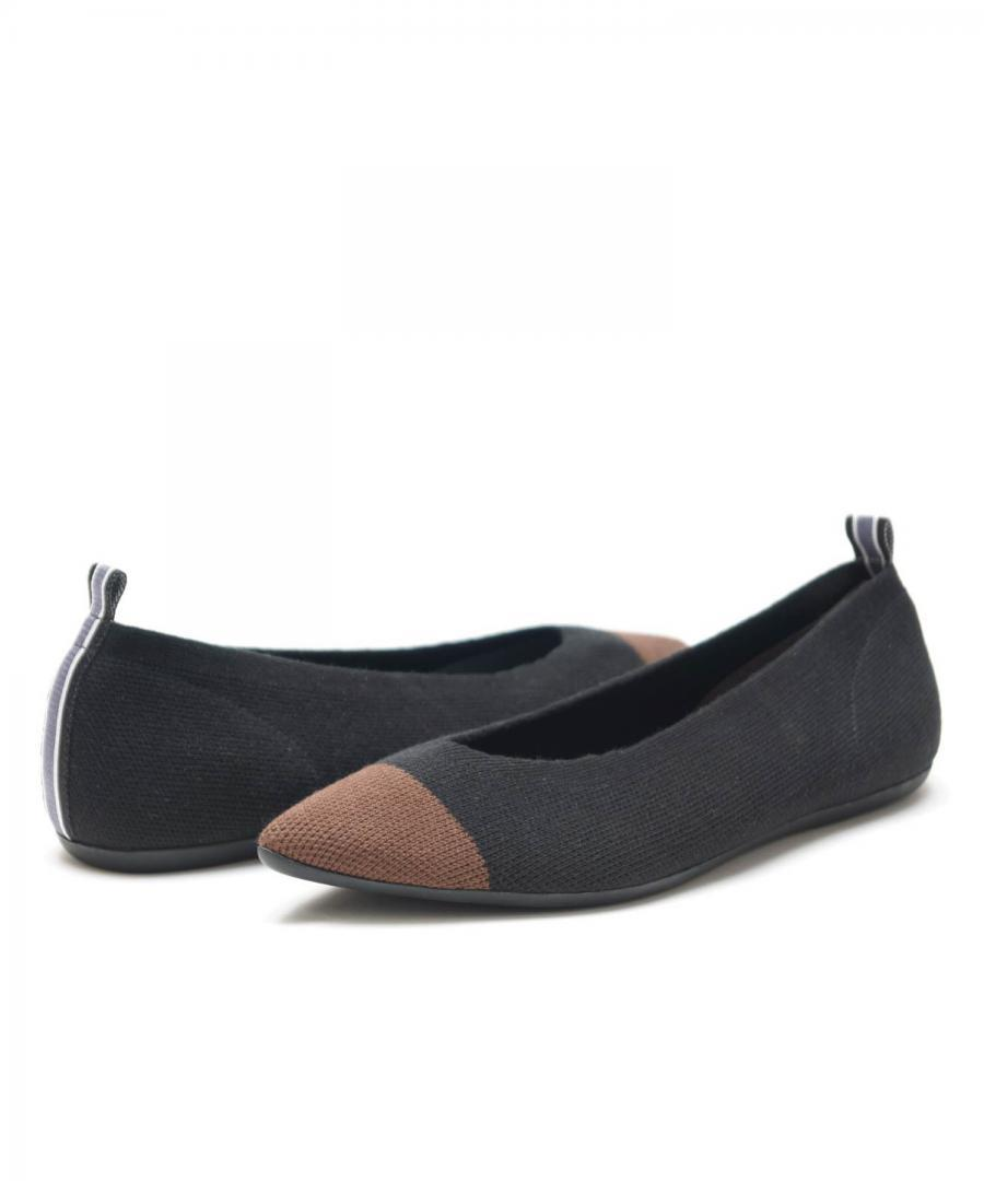 KNIT FLATS POINT Two-tone Brown Toe Blac