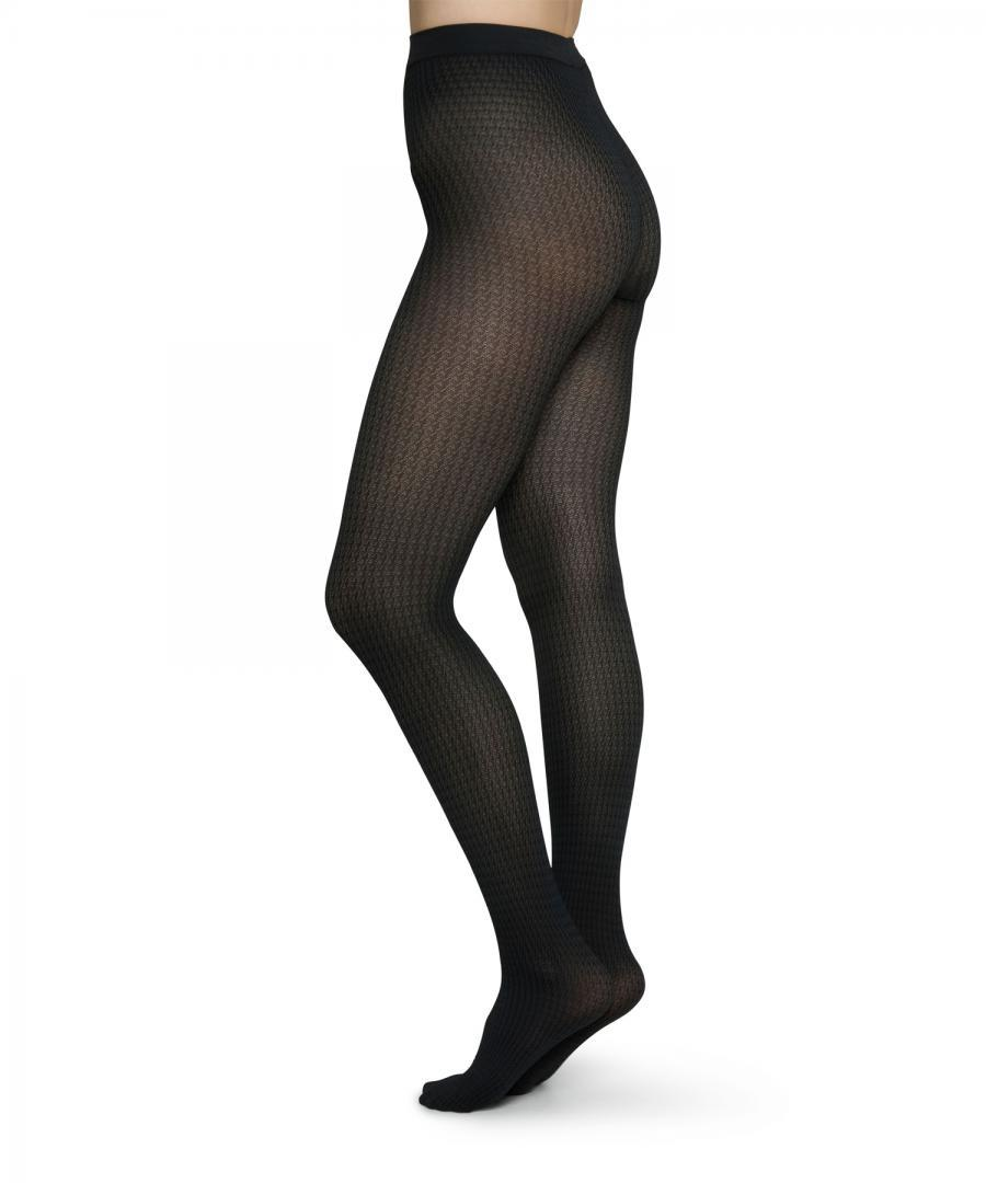 Agnes Houndstooth Tights Black/grey