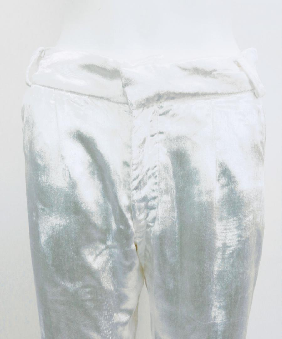 INTERRUPTED PANTS WHITE PANNE VELVET W B