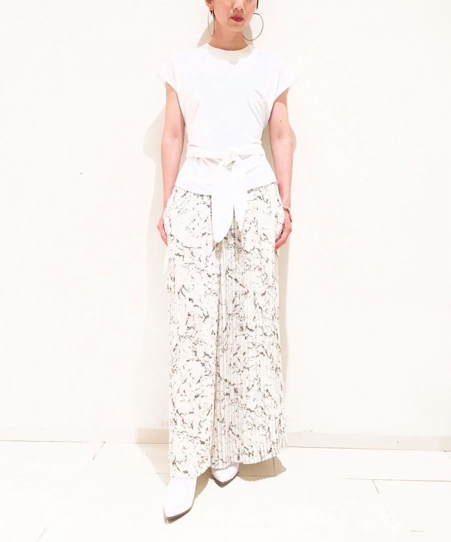 MARBLE PRINTED CHIFFON PLEATED TROUSERS