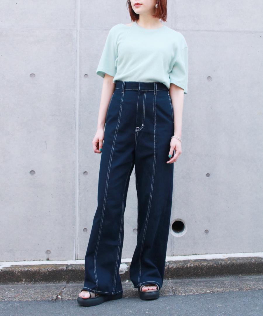 CONTRASTING STITCH WIDE LEG TROUSERS