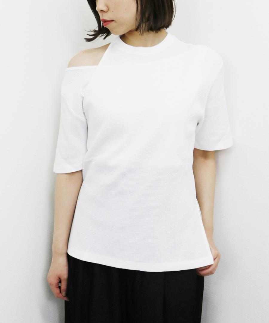 CUT OUT COTTON WAFFLE TEE