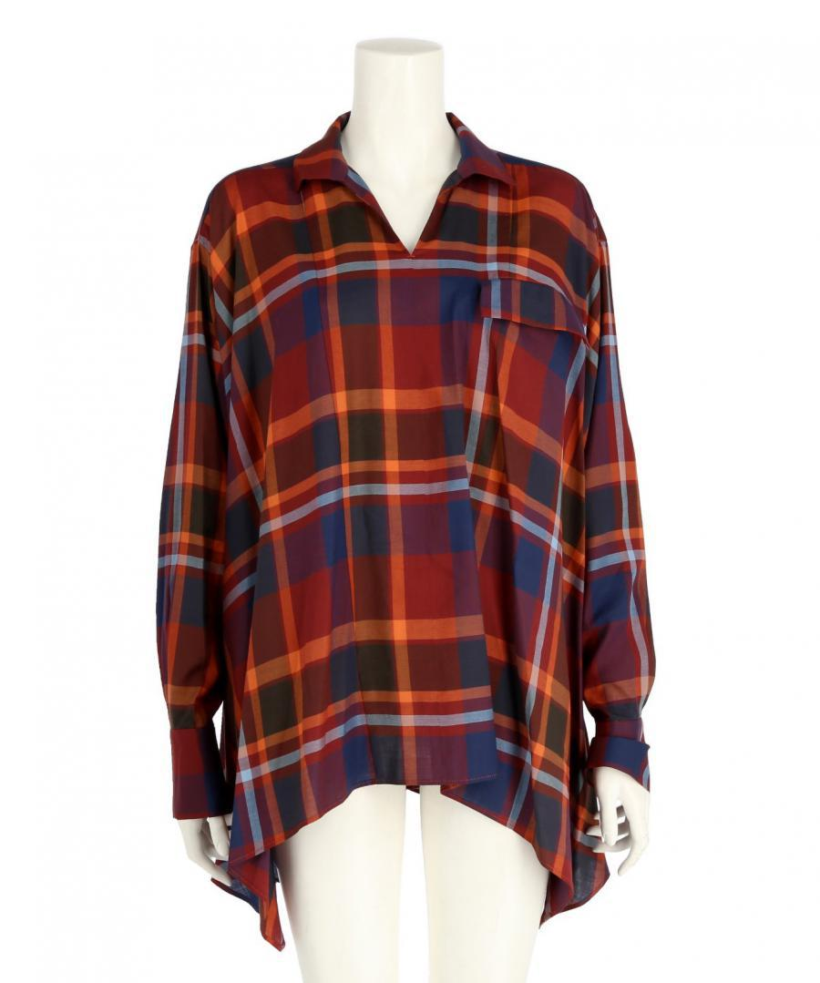 BIG PLAID HANDKERCHIEF HEM SHIRT