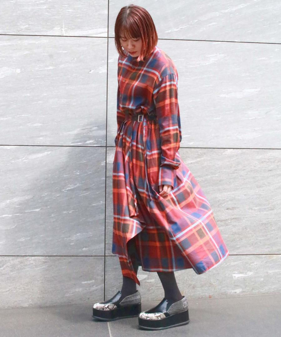 BIG PLAID LAYERED SHIRT DRESS