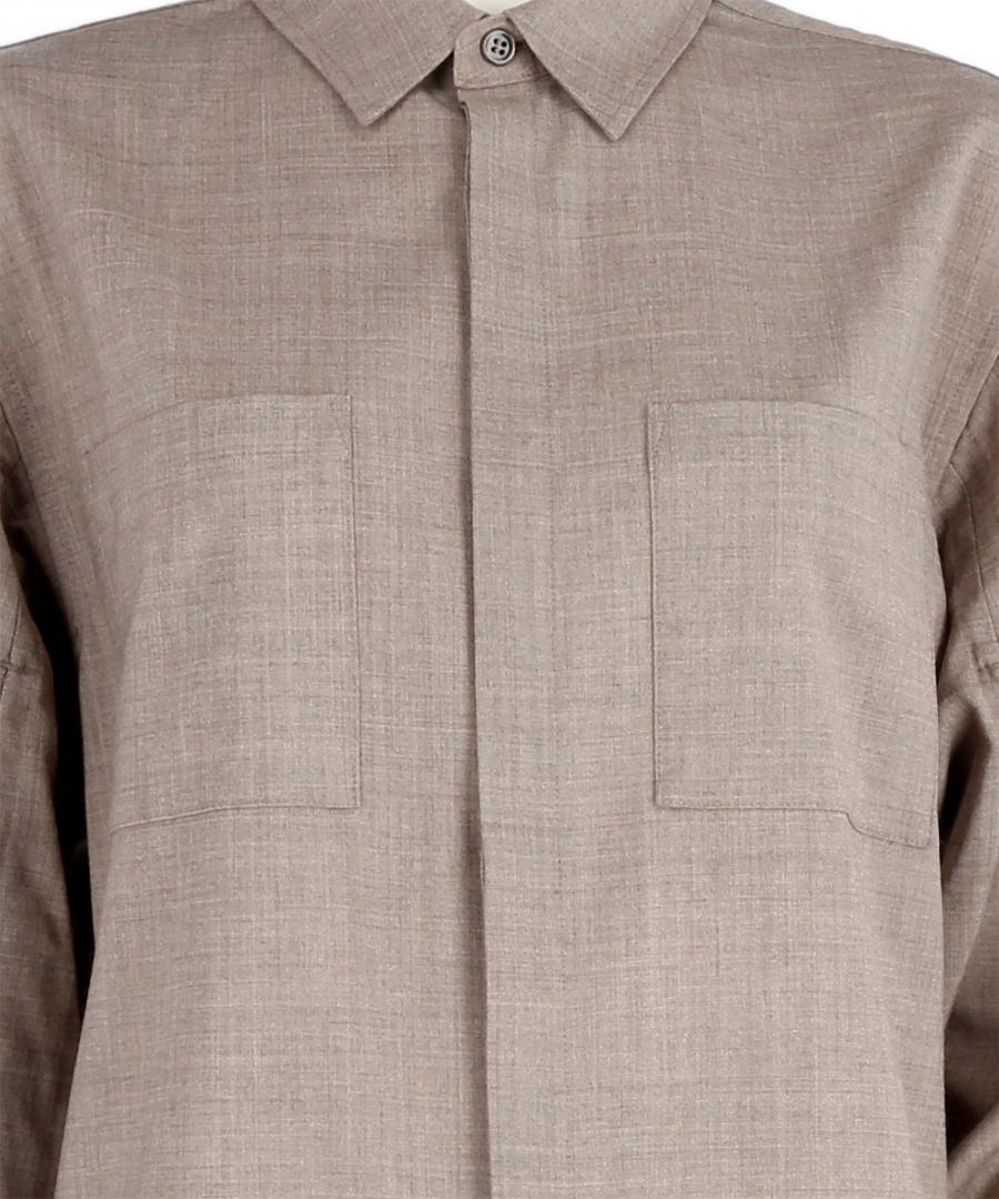 WOOL BLEND PLEATED SLEEVE SHIRT