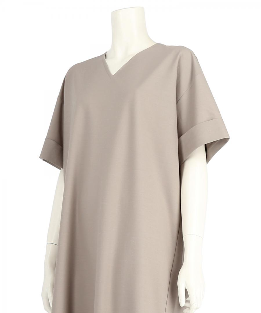FINE GAUGE JERSEY V NECK DRESS