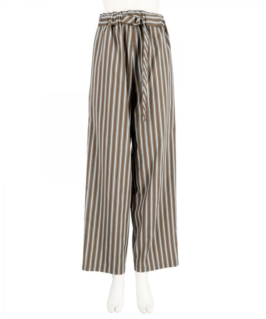 STRIPE BELTED TROUSERS