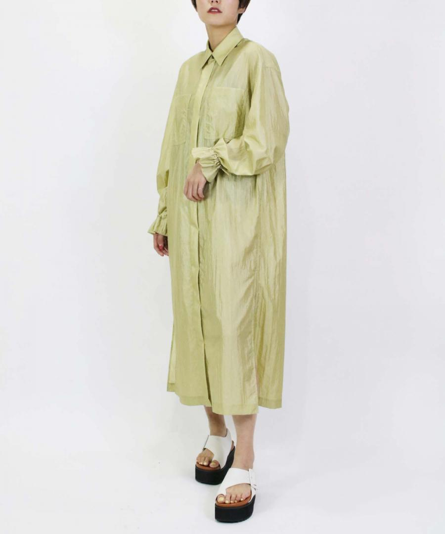 CRINKLE NYLON COAT DRESS