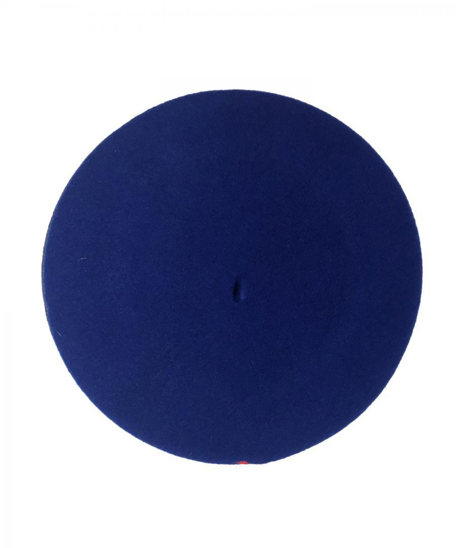 BLUE BERET WITH JUSTICE IN ORANGE
