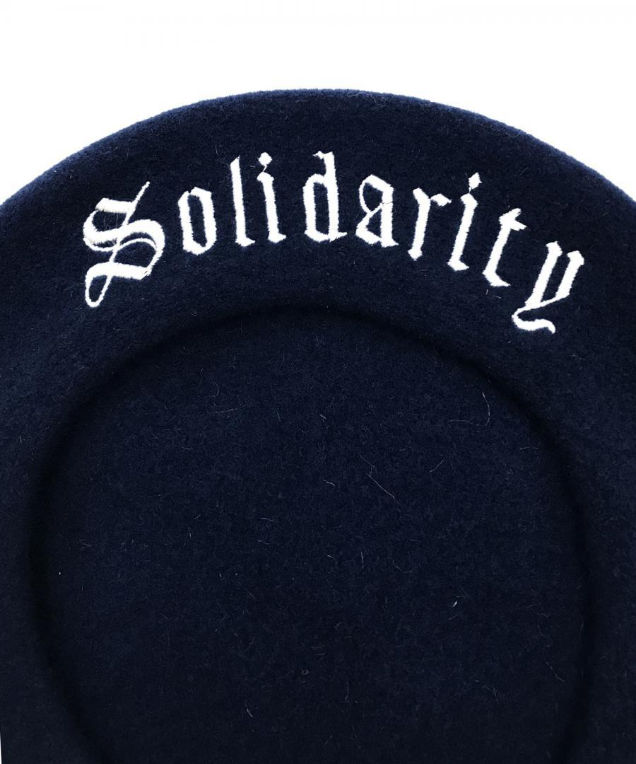 NAVY BERET WITH SOLIDARITY IN WHITE
