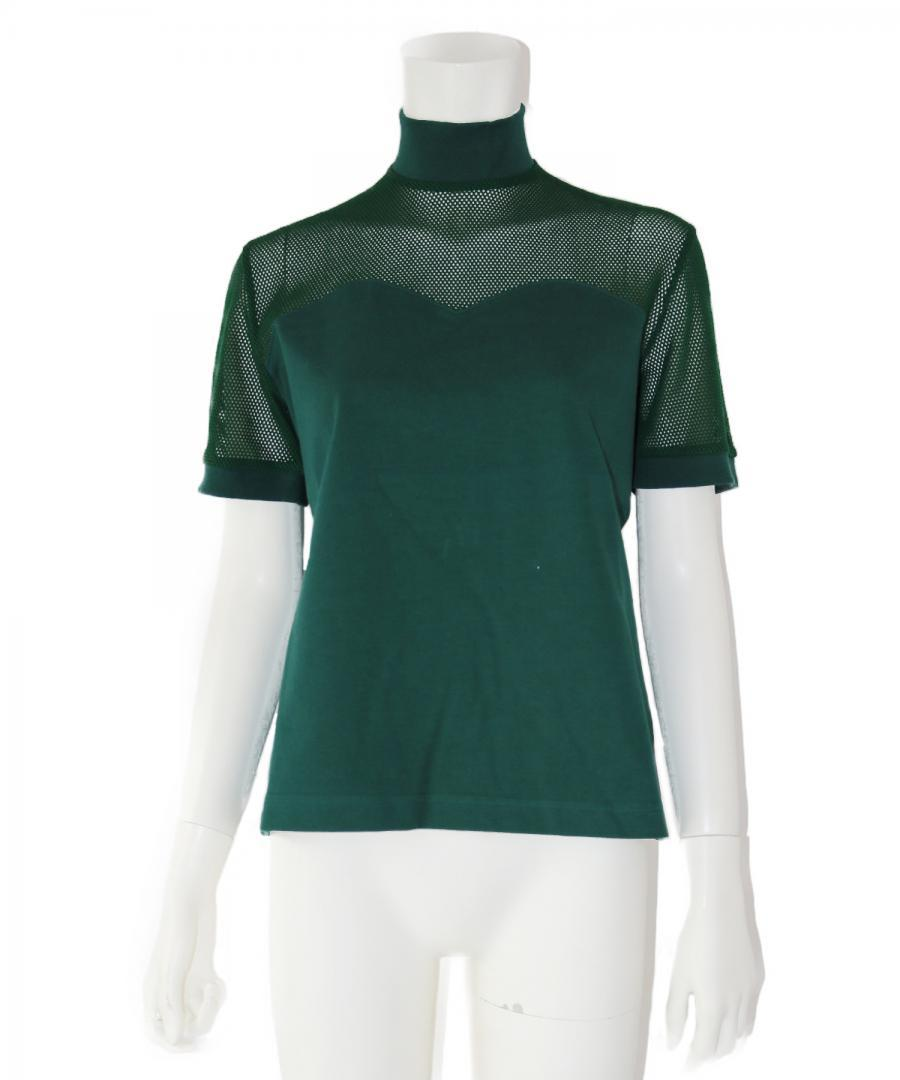 MESH COMBINATION MOCK NECK TOP