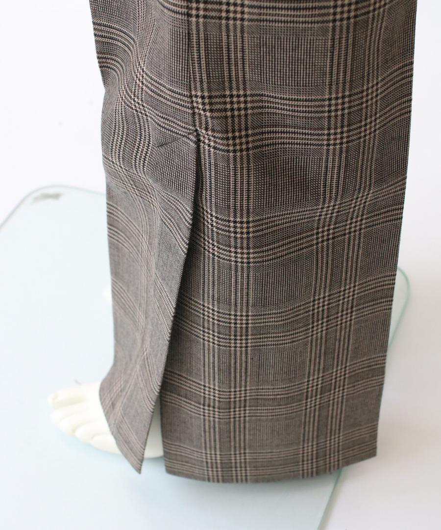 CHECKED WOOL VENTED PANTS