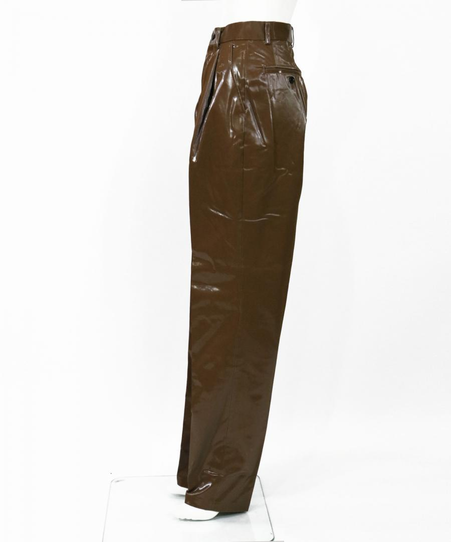 COATED COTTON PLEATED PANTS