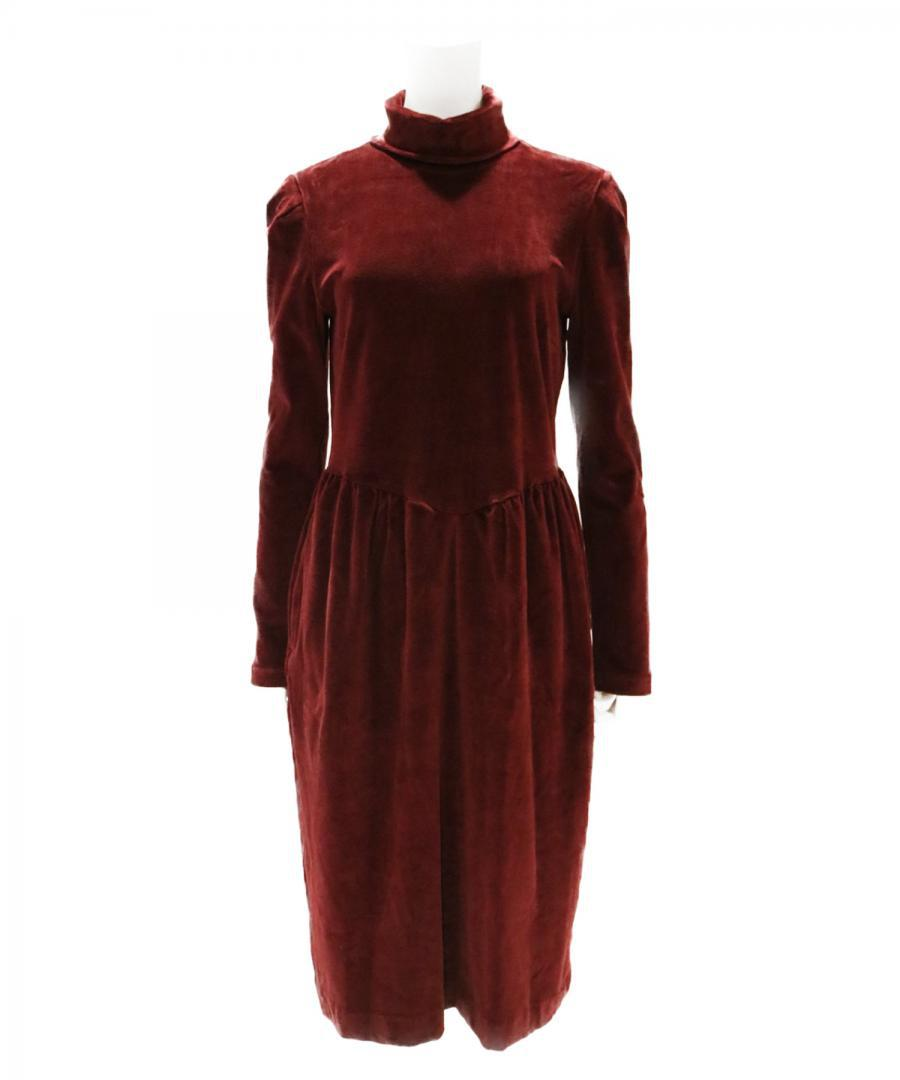 VELVET JERSEY HI-NECK DRESS