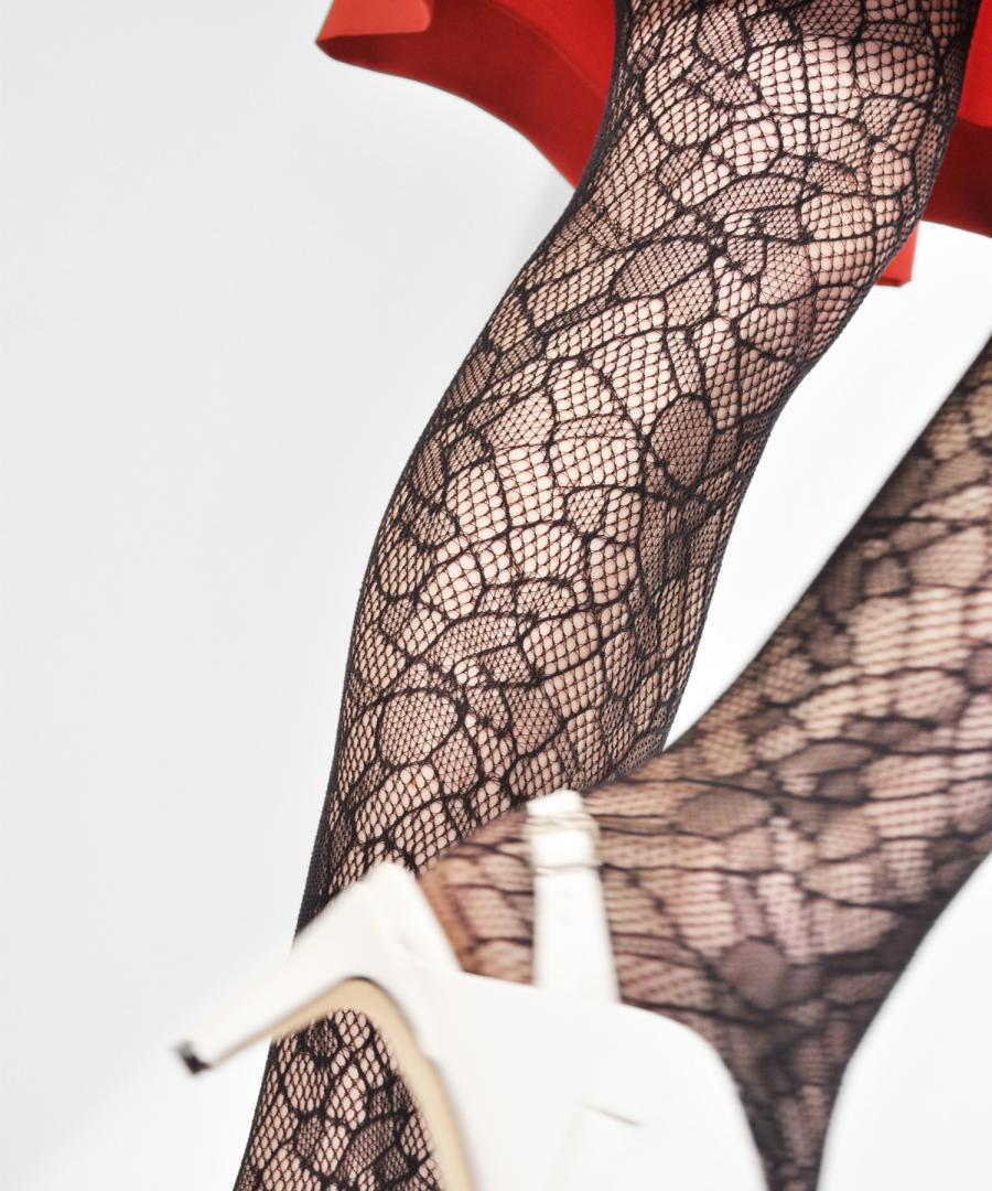 Edith Lace Tights Black