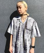 TIE-DYED EMBROIDERY OPEN COLLAR SHIRT