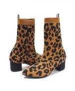 KNIT BOOTS POINT Leopard Camel Brown